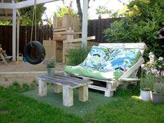 Jardim e paletes de madeira