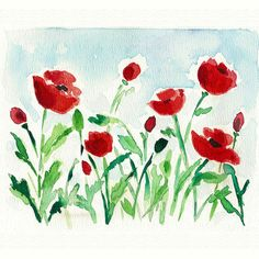 Watercolor Paint | Red Poppies Field original watercolor painting by TheJoyofColor