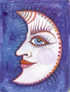 Moon Face original painting on upcycled cardboard by molMolly