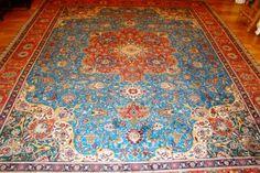 Turquoise Blue Naghshe Tabriz Persian Carpet