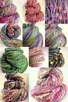 A selection of extraordinary yarns from spinner Karen King from The Fibre Tree. Lots of colour and texture!