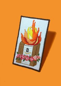 Burning amazon on a bed of roses Hand made by VanAsveld New Media, Hand Embroidery, Give It To Me, Etsy Seller, Roses, Amazon, Bed, Creative, Handmade