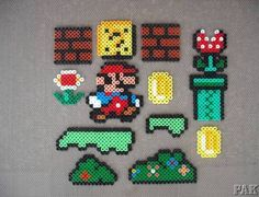 12 x Super Mario Brothers/World Element Fridge Magnets.Nintendo Bead Sprite Hama