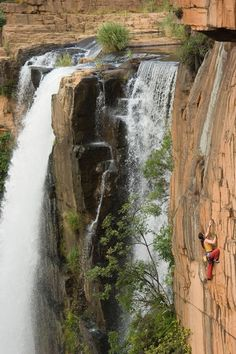 Rock climbing on Waterval Boven. South Africa.