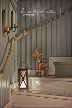 so much inspiration in this one pic! Love it all from the beadboard to the straw horse so much inspiration in this one pic! Love it all from the beadboard to the straw horse Cottage Stairs, Deco Marine, Flur Design, Interior And Exterior, Interior Design, Hallway Designs, Stair Railing, Stairways, Sweet Home