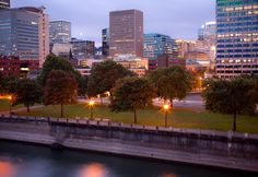 Tom McCall Waterfront Park at dusk. Dusk, San Francisco Skyline, Portland, River, Photography, Outdoor, Outdoors, Photograph, Portland Stone