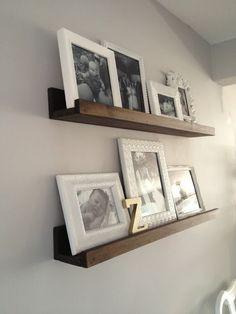 $20 DIY Wood Shelves, all white frames, black & white photos