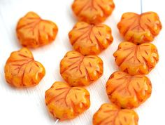 Orange Maple Leaf Bead, Darker Inlays, Czech Pressed Glass (10)