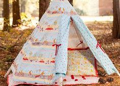 Fox Playground is just the right mix of whimsical characters and modern prints to use for your little one's room decor, clothing and accessories. Make this TeePee, Quilt with Pom Poms and Pillow for anyone that loves foxes.