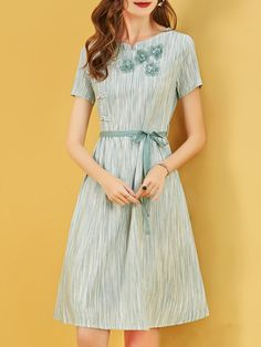 66b827f62c2 Stylewe Sundress Casual Dresses Daily A-Line Crew Neck Paneled Casual Short  Sleeve Dresses