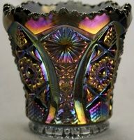 Beautiful Vintage Imperial Iridescent Carnival Glass Toothpick Holder Peacock Hobstar