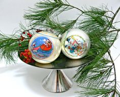 Vintage Disney Christmas Ornaments  Set of 2  by EitherOrFinds, $24.00