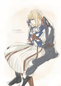 Violet Evergarden and Gilbert Bougainvillea Manga Anime, Film Anime, Anime Art, Violet Evergarden Gilbert, Violet Evergarden Wallpaper, Disney Mignon, Violet Evergreen, Couple Manga, Violet Garden