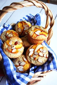 Peach Almond Muffins. A true, not-too-sweet muffin recipe with great peach and almond flavor.