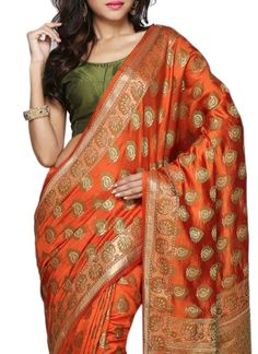 Rust Pure Silk Saree
