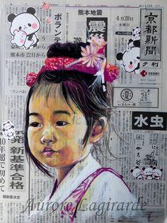 Portrait Japon Kawai Scrapbooking Image, Advanced Higher Art, Collages, Collage Portrait, A Level Art, Cool Art Drawings, High Art, People Art, Types Of Art