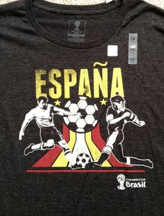 f92b158bf  19 mens 2xl xxl 2x ESPANA SPAIN SOCCER T-SHIRT Gray Yellow