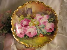 Stunning Antique Limoges France Hand Painted Victorian Roses Wall Plaque Charger Highly Collectible Still Life China Painting Artwork Castle Scenic Masterpiece Heirloom Treasure Artist Signed