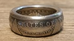 How to make double sided silver Morgan, Peace dollar coin rings