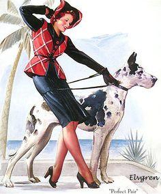 Pin-Up Girl Walking the Great Dane Dog Pin Up Poster Print Vintage Art Pinup Art, Gil Elvgren, Minnesota, Face Anime, Pin Up Illustration, Art Illustrations, Pin Up Posters, Retro Posters, Vintage Posters
