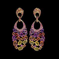 Mousson atelier, collection Splash, ear pendants, Yellow gold 750, Multicolored sapphires
