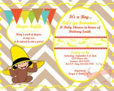 Curious george invitation baby shower birthday custom by honeybops curious george baby shower invitation personalized digital printable filmwisefo