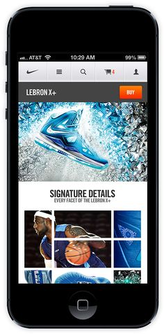 "Nike unveils new mobile site, created to ""integrate both Nike Brand and Nike Commerce under one seamless roof"". Check it out •• Nike.com Mobile by Erik Herrström, via BehanceNike.com"