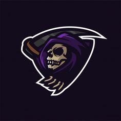 Molde do logotipo da mascote do jogo do reaper do grim reaper Vetor Premium Dragon Tattoo Stencil, Logo Esport, Banners, Team Logo Design, Drop Logo, Sports Team Logos, Esports Logo, Graffiti Characters, Skull Logo