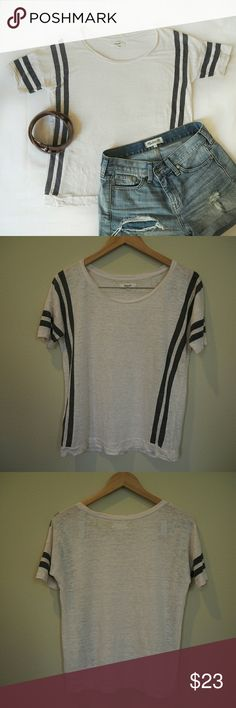 Madewell Cream/Navy Blue Stripe T-shirt + 100% Linen + Loose fit + Off-white/cream/blush color (second photo better represents the color)  Reasonable offers welcome! No trades :) Madewell Tops Tees - Short Sleeve