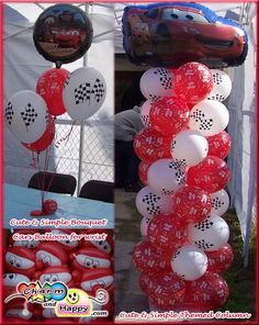 going to use black and white balloons instead to make a flag across the garage with balloons!