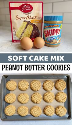 Cake Mix Desserts, Cake Mix Cookie Recipes, Cookie Desserts, Easy Desserts, Dessert Recipes, Cake Mixes, Yummy Cookies, Desserts With Few Ingredients, Cookies Ingredients