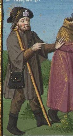 Le Mirouer historial de VINCENT de Beauvais, traduction de JEHAN DU VIGNAY 1401-1500  Français 50  Folio 268r 15th Century Dress, Beauvais, Bnf, Medieval Art, Pouch Bag, Leather Pouch, Pilgrimage, Art Reference, Renaissance