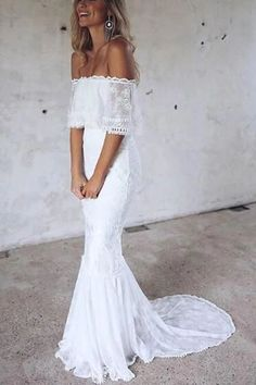 2018 Boho Beach Wedding Dress Off Shoulder Wedding Dress, Lace Wedding Dresses Bridal Dress - Wedding dresses - Vestidos de Novia Off Shoulder Wedding Dress Lace, White Lace Wedding Dress, Long Wedding Dresses, Bridal Dresses, Wedding Gowns, Lace Dresses, White Dress, Boho Beach Wedding Dress, Wedding White