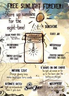 DIY Solar Lamp: Make Your Own Eco-Friendly Sun Jars. Great to take camping to illuminate the site at night!