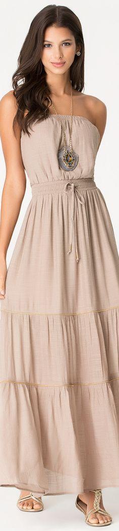 Beige off shoulder #maxi dress. women fashion @roressclothes closet ideas