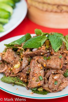 Nam Tok Recipe (น้ำตกเนื้อ): Delicious Thai Waterfall Beef Salad Nam tok neau (beef waterfall), which literally means waterfall beef, is a delicious Thai dish. Enjoy this authentic Thai waterfall beef salad recipe! Asia Food, Laos Food, Thai Street Food, Asian Recipes, Beef Recipes, Cooking Recipes, Laos Recipes, Okra Recipes, Beef Tips