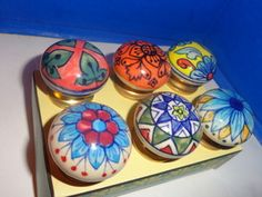 Ceramic Drawer Pull Knob Set 6 Multi Colored Hand Painted Knobs Door | eBay