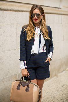 2014  Tommy Hilfiger Blazer, Shorts & Blouse c/o, Louboutin Pumps, Givenchy Bag