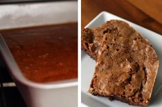 Image 1: Rum brownie batter in an 8x8 stainless steel pan in the oven; Image 2: Two baked chocolate rum brownies on a square white plate