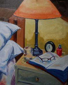 Bed and Book. Oil on Board. private collection U.S.A
