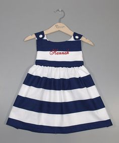 Love this Navy Stripe Personalized Jumper - Infant, Toddler & Girls by Princess Linens on #zulily! #zulilyfinds