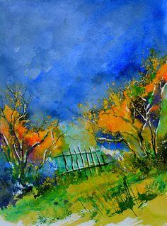 New #artwork online, by Pol Ledent ! 200€ ! #landscape #sky #blue #painting #paper art for sale #buyart #art #forsale #collector Contact us ! facebook.com/Binnovart