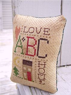 Completed Cross Stitch Sampler Pinkeep  Love Home  by Stitchcrafts, $16.00