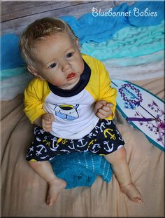 Blonde Beach Baby Boy. Reborn doll Saskia kit by Bonnie Brown now Baby boy, Jonathan from Bluebonnet Babies. On eBay soon!