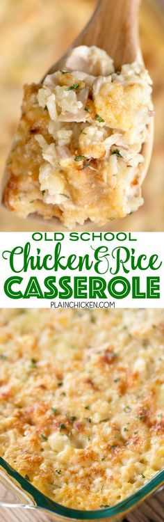 Old School Chicken and Rice Casserole - seriously THE BEST!!! Everyone cleaned their plate and went back for seconds - even our picky eaters!!! Chicken, cream of chicken, cream of mushroom, cream of celery, onion powder, garlic powder, water, milk, instant rice and parmesan cheese. This has quickly become a family favorite! We make it at least once a month. SO good!!