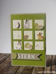 handmade Spring/Easter card from Paper arts ... die cut 3X3 inchie grid with embossed stitch lines ... eggs and rabbits cut out and arranged about ... great card!