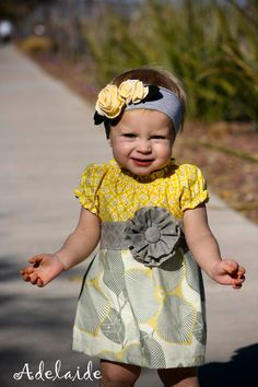 Cute dress & headband! I'm lovin' the grey/yellow color combo! Precious <3