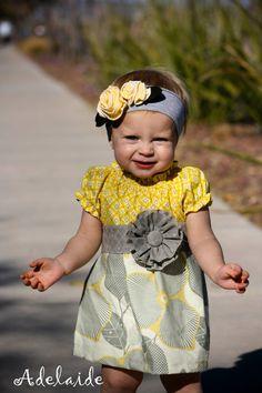 Cute dress & headband! I'm lovin' the grey/yellow color combo! Precious <3