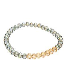Green & Light Colorado Crystal Bead Stretch Bracelet #zulily #zulilyfinds