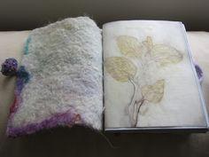 Leaf prints on paper with wool felt cover.  Blog http://terriekwong.blogspot.hk/2013/03/binding-book.html